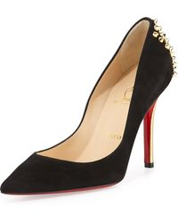 Christian Louboutin Zappa Suede Spiked-Heel Red Sole Pump - Lyst