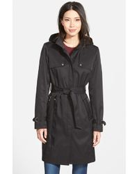 DKNY - Single Breasted Trench Coat With Detachable Hood - Lyst