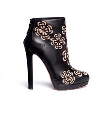 Alexander McQueen Floral Perforation Leather Ankle Boots beige - Lyst