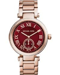 Michael Kors Mid-Size Rose Golden Stainless Steel Skylar Three-Hand Glitz Watch - Lyst