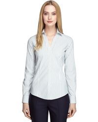 Brooks Brothers Noniron Fitted Stripe Dress Shirt - Lyst