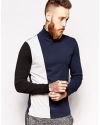 Asos Long Sleeve T-shirt with Roll Neck and Cut and Sew - Lyst