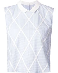 Band of Outsiders Gingham Check Sleeveless Shirt - Lyst