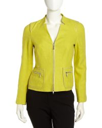Lafayette 148 New York Haley Leather Trim Linen Jacket  - Lyst