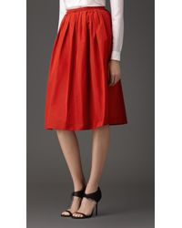 Burberry Pleated Cotton Blend Skirt red - Lyst