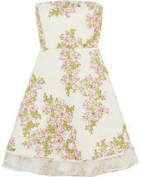 Giambattista Valli Organza-trimmed Floral-print Tweed Mini Dress - Lyst