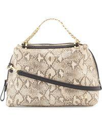 Halston Heritage Small Leather Satchel Bag beige - Lyst