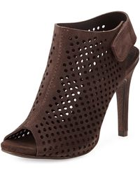 Pedro Garcia Sofia Perforated Suede Peeptoe Bootie - Lyst