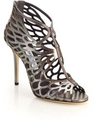 Jimmy Choo Fyonn Laser-Cut Metallic Leather Sandals silver - Lyst