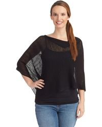Eileen Fisher Black Knit Poncho - Lyst
