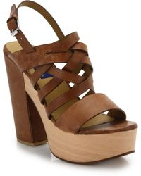 Polo Ralph Lauren - Bree Wooden-platform Suede Sandals - Lyst