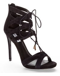 Steve Madden Black Maiden Lace-Up Sandals - Lyst