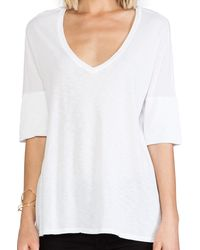 Michael Stars Elbow Roll Sleeve V Neck - Lyst