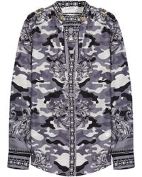 Versace Printed Silk-Satin Twill Shirt gray - Lyst