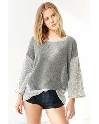 Sloane Rouge - Crochet-Sleeve Top - Lyst