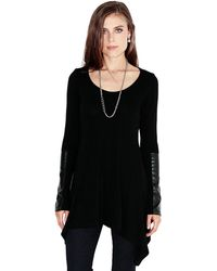 Karen Kane Faux Leather Handkerchief Top - Lyst