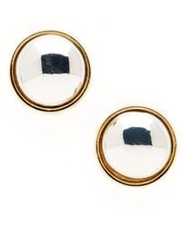 Lauren by Ralph Lauren Two-Tone Button Stud Earrings - Lyst