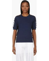 Chloé Navy Cashmere Knit and Silk Lace Iconics Top - Lyst