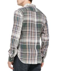 7 For All Mankind Plaid Linen Buttondown Shirt - Lyst