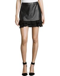 Madison Marcus Faux-leather Ruffled Skirt - Lyst