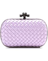 Bottega Veneta Knot Satin And Snakeskin Clutch - Lyst