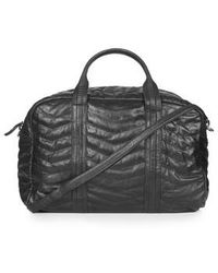 Topshop Leather Zig-Zag Quilted Luggage Bag - Lyst
