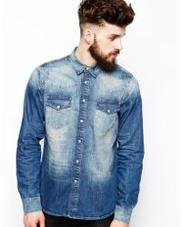Asos Denim Shirt in Long Sleeve with Rip N Repair - Lyst