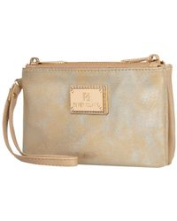 River Island Gold Metallic Double Pouch Purse - Lyst