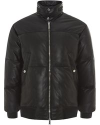 DSquared2 Leather Down Bomber Jacket - Lyst