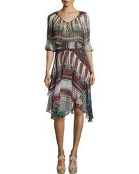 Cynthia Vincent - 3/4-sleeve V-neck Scarf Dress - Lyst