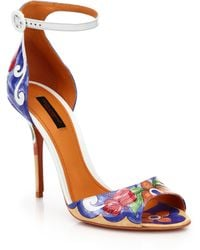 Dolce & Gabbana Printed Patent Leather Sandals - Lyst