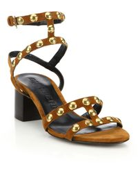 Burberry | Philly Studded Suede Block-heel Sandals | Lyst