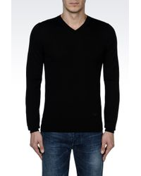 Emporio Armani V-Neck Jumper In Shaved Wool - Lyst