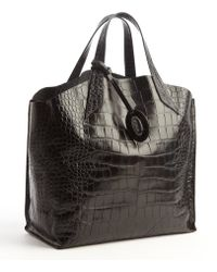 Furla Onyx Croc Embossed Leather Jucca Shopper Tote - Lyst