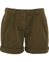 Burberry Brit | Pleated Stretch Cotton Shorts | Lyst