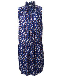 Stella McCartney Mixed Blossom-Print Fit-And-Flare Dress blue - Lyst