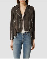 AllSaints Tassel Leather Biker Jacket - Lyst