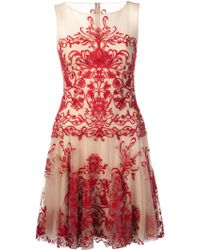 Notte By Marchesa Illusion Neck Embroidered Dress - Lyst