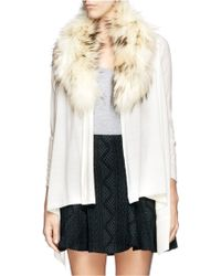 Alice + Olivia Izzy Raccoon Fur Collar Cardigan - Lyst