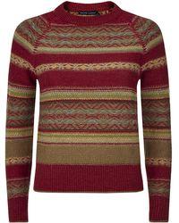 Ralph Lauren Blue Label Cropped Aztec Sweater - Lyst