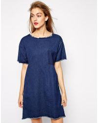 Won Hundred Blue Dress In Demin With Raw Edges - Lyst