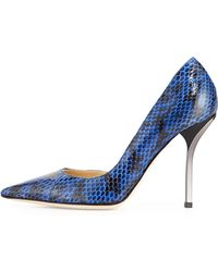 Jimmy Choo Willis Snake Half Dorsay Pump Blue - Lyst