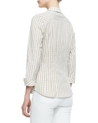 Lafayette 148 New York Hampton Check Blouse Khaki - Lyst