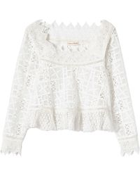 Rebecca Taylor | Long Sleeve Crochet Lace Top | Lyst