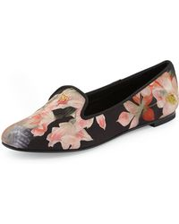 Ted Baker Opulent Bloom Floral Print Satin Loafer Blk Patrn 6b - Lyst