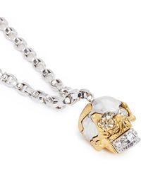 Alexander McQueen Puzzle Skull Pendant Chain Necklace silver - Lyst