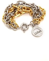 Giles & Brother Two Tone Crystal Encrusted Link Bracelet Goldrhodium - Lyst