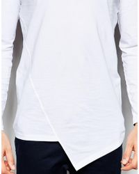 ASOS | Longline Long Sleeve T-shirt With Asymmetric Hem | Lyst
