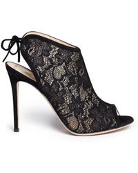 Gianvito Rossi Lace Peep Toe Booties - Lyst