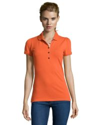 Burberry Brit Bright Clementine Piquã© Knit Stretch Cotton Polo - Lyst